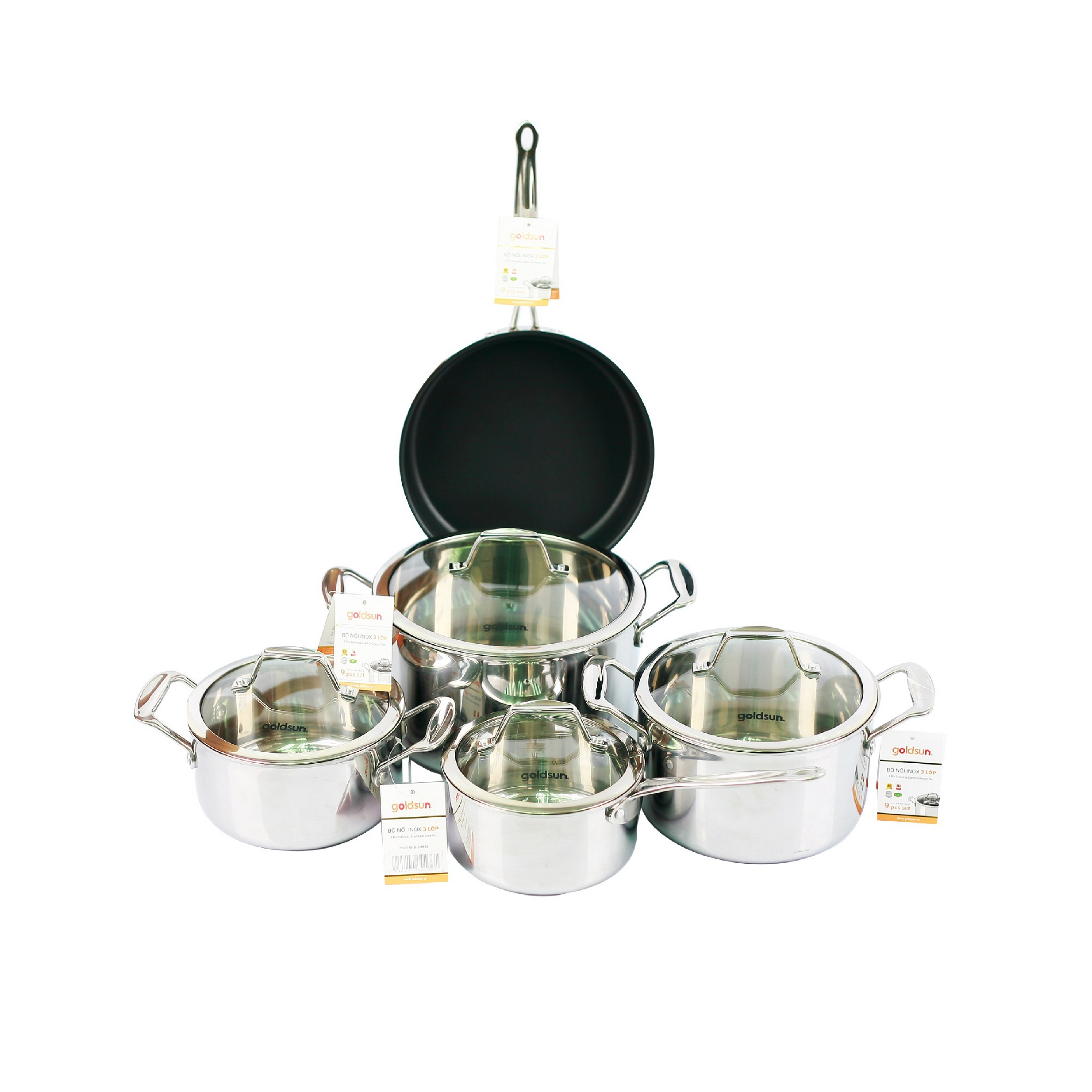 BEST PRICE !!! High quality 3pcs stainless steel pot set and 1 stainless steel sauce pan and non-stick pan (GOLDSUN)