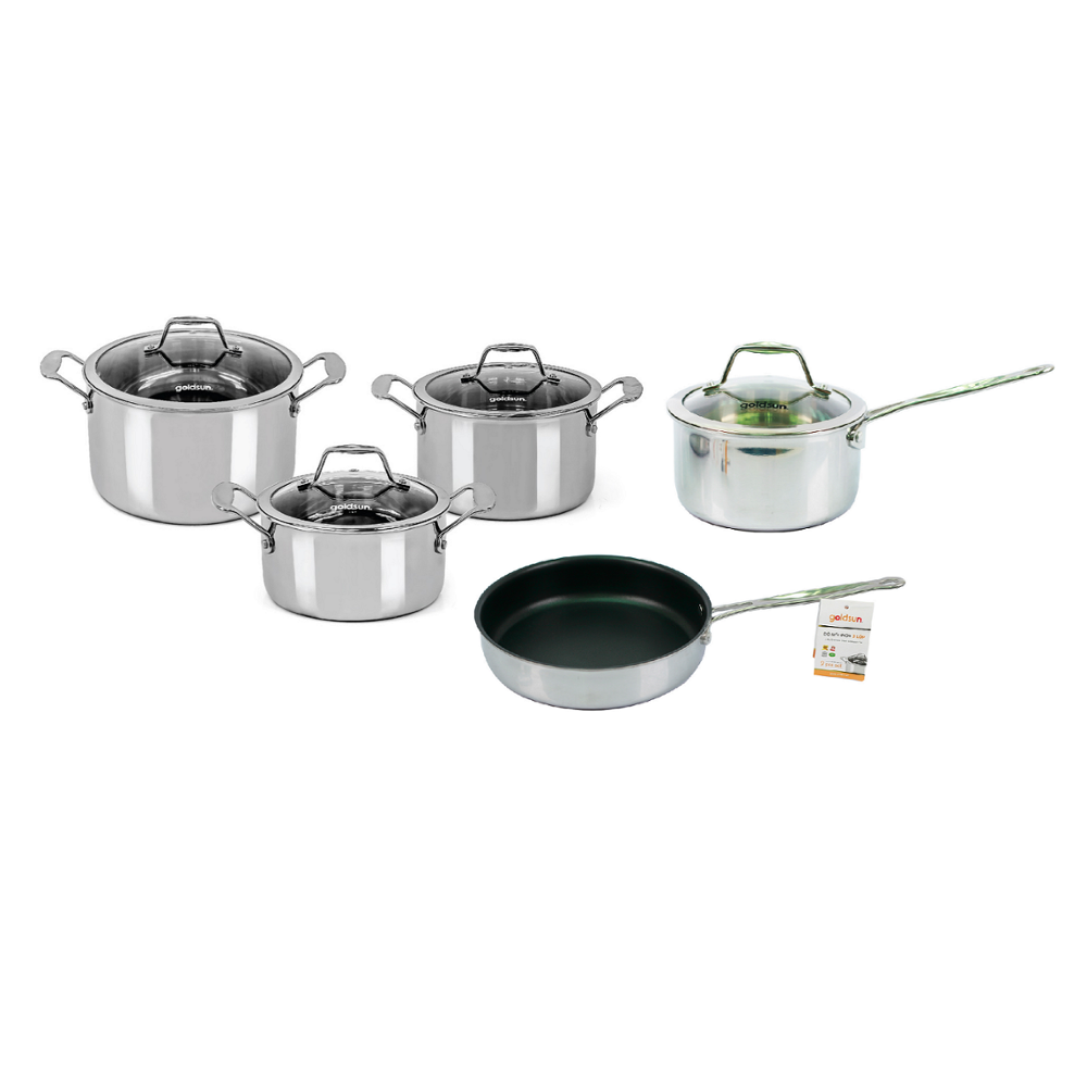 Best Sale !!! The stainless steel cooking set GH22-5309SG consists of 3 pots and non-stick pan (Goldsun Vietnam)